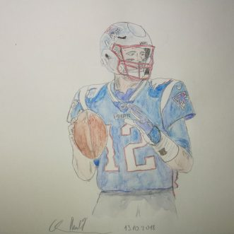 "Drawing: ""New England Patriots – Tom Brady"" – Lineart – colored"