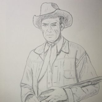 "Drawing: ""Winchester 73 – James Stewart"" – Lineart"