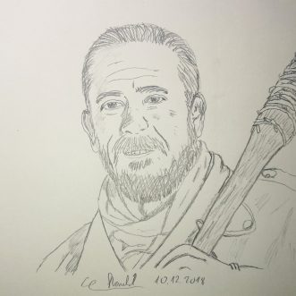 "Drawing: ""The walking dead – Negan und Lucille"" – Lineart"