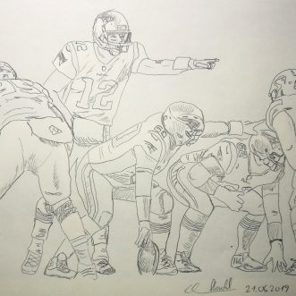 "Drawing: ""NFL Football – New England Patriots 12 = Tom Brady"" – Lineart"