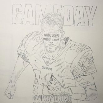 "Drawing: ""NFL Football – New England Patriots – 12 = Tom Brady"" – Lineart"
