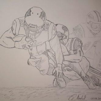 "Drawing: ""Football – Patriots vs. Jets"" – Lineart"